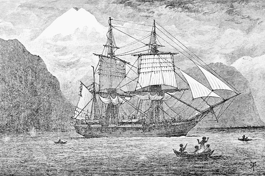 Galapagos Graphics: HMS Beagle in the Straits of Magellan, 1890, Popular Science Monthly Volume 57, R. T. Pritchett