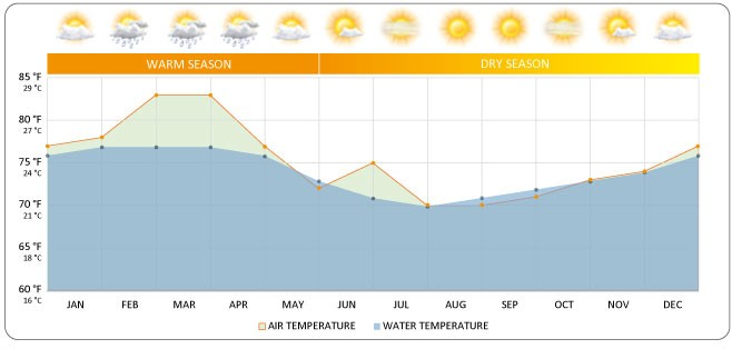 Galapagos Graphics: A graph to show the fluctuations in temperature and rainfall in Galapagos © GalapagosIslands.com