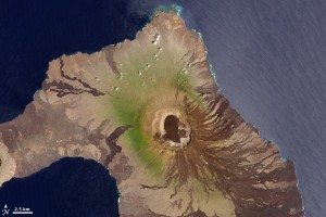 Galapagos Places: Satellite image of Wolf volcano on Isabela