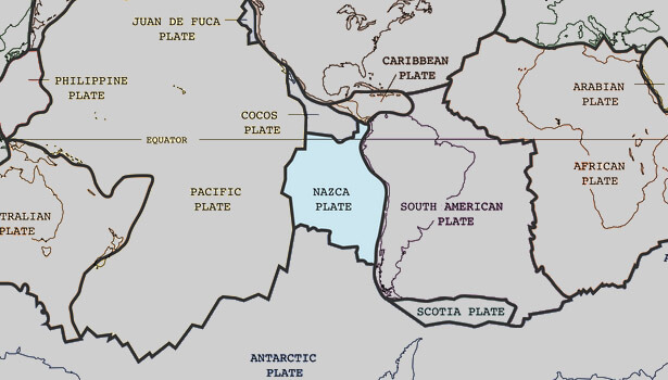 Galapagos Graphics: The location of the Nazca plate (Public Domain)