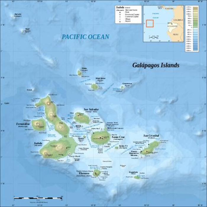 Galapagos Graphics: A map of the Galapagos Islands