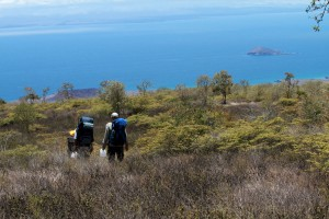 Galapagos Places: Biologists on a hill © Christian Ziegler