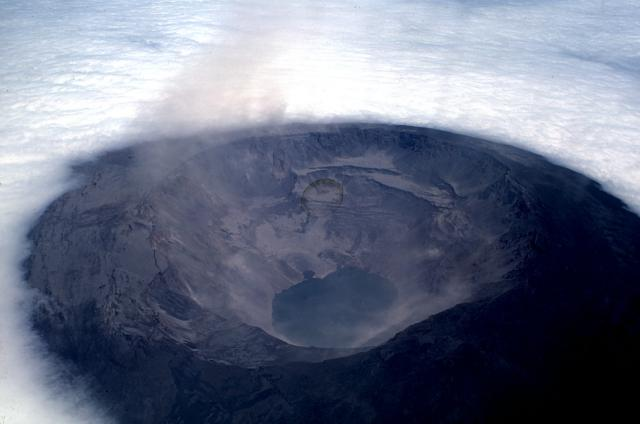 Galapagos Places: An aerial view of the Fernandina shield volcano © Tom Simkin