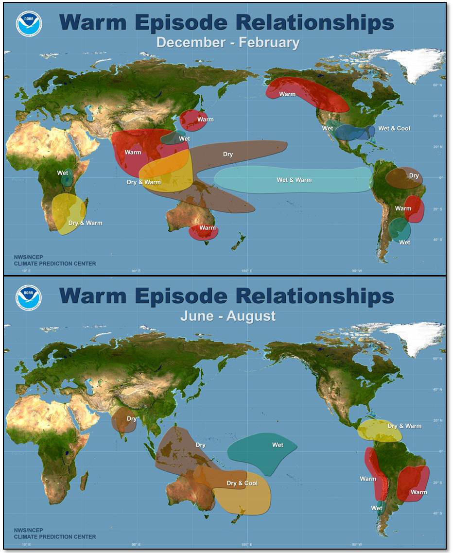 Galapagos Graphics: A map to show the global impacts of an El Niño year © NCEP