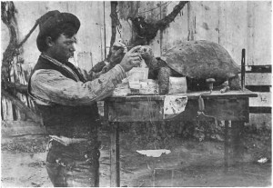 Galapagos People: Rollo Beck mounting a tortoise in 1899